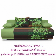 Pohovka rozkladacia, zelená / hnedá / vzor kvetov, REMI