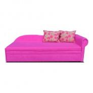 Rozkladacia pohovka, ružová / vzorované vankúše, pravá, AGA D