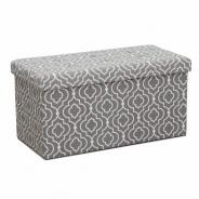 Skladací taburet, tkanina v šedom vzoru, FARGO