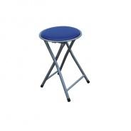 Skladací taburetka, ekokoža modrá / kov strieborná, IRMA