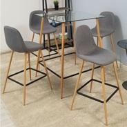 Jedálenský set stôl / štyri stoličky, svetlo šedá, DAMAN