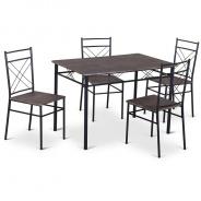 Jedálenský set 1 + 4, drevo / čierna, Ramet