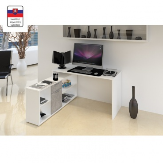 PC stôl, biela / betón, NOE NEW