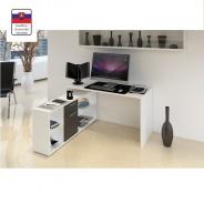 PC stôl, biela / čierna, NOE NEW