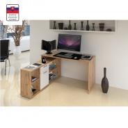 PC stôl, dub Wotan / biela, NOE NEW