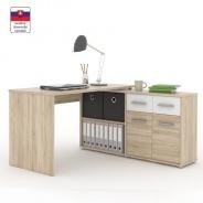 PC stôl s policou, dub sonoma / biela, RAFAEL NEW