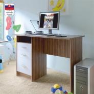 PC stôl, dub slivka / biela, SAMSON NEW