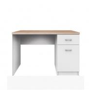 PC stôl 1D1S, DTD laminovaná, biela / dub sonoma, TOPTY