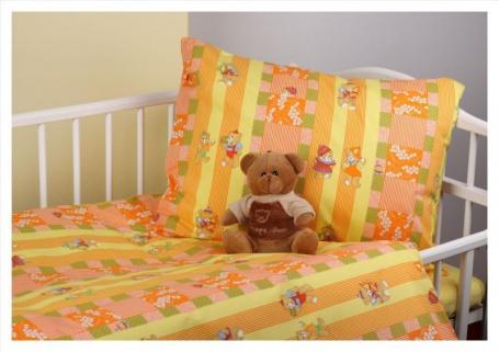 Detské obliečky -medvedíky oranžová