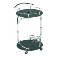 Servírovací stolík, čierne sklo / chróm, VESNA