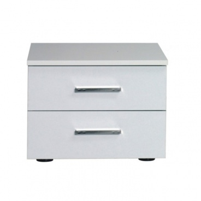 Nočný stolík, 2 kusy, biela / vysoký biely lesk HG, ASIENA