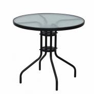 Jedálenský stôl vhodný, čierna oceľ / temperované sklo, BORGEN TYP 2