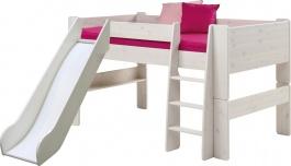 Detská vyvýšená posteľ so šmykľavkou Dany 90x200 cm - masív / biela