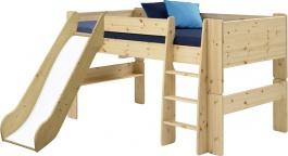 Detská vyvýšená posteľ so šmykľavkou Dany 90x200 cm - masív