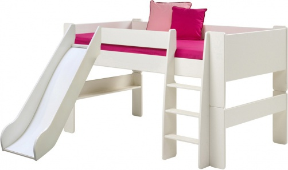 Detská vyvýšená posteľ so šmykľavkou Dany 90x200 cm - biela