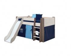 Detská vyvýšená posteľ so šmykľavkou Dany 90x200 cm - biela / hnedá