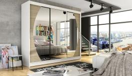 Šatní skříň ASTON V bílá/sonoma/zrcadlo