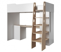 Poschodová posteľ kombi BUBU dub jantár / biela