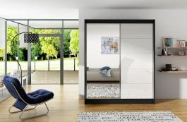Šatní skříň VITO V černá/bílá/zrcadlo