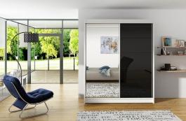 Šatní skříň VITO V bílá/černá/zrcadlo