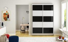 Šatní skříň MONTANA III bílá/černá