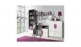 Detská izba Lobete IV - sivá/biela/fialová