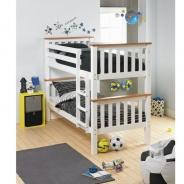 Dvojposchodová rozložiteľná posteľ, biela / hnedá, ROWAN