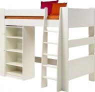 Vyvýšená posteľ s regálom Dany - biela