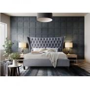 Manželská posteľ, sivá / wenge, 180x200, Alesia