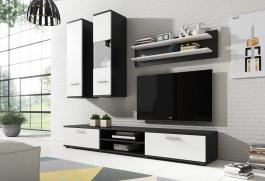Obývacia stena GRINDA čierna/biela
