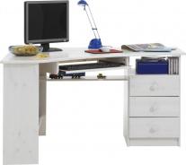 Rohový písací stôl Kent - biela