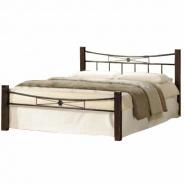 Manželská posteľ, drevo orech / čierny kov, 160x200, PAULA