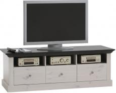 Televízny stolík Monako - biela / tmavo hnedá