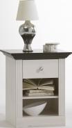 Nočný stolík Monako - biela/tmavo hnedá