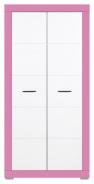 Detská šatníková skriňa Twin - biela / ružová