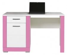Detský písací stôl Twin - biela / ružová