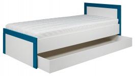 Detská posteľ so zásuvkou Twin 90x200cm - biela / modrá