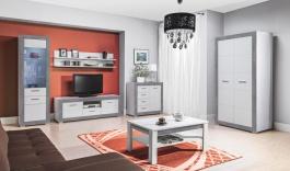 Obývacia zostava s osvetlením Twin - biela / šedá