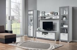 Obývacia zostava s osvetlením Twin II - biela / šedá