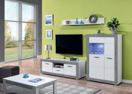 Obývacia zostava s osvetlením Twin III - biela / šedá