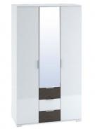 Šatníková skriňa 3-dverová TERRA wenge / biela lesk
