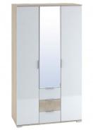 Šatníková skriňa 3-dverová TERRA sonoma / biela lesk