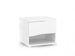 Nočný stolík REA Wave 1 jednozásuvkový - biela