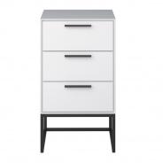 Nočný stolík Lina so 3 zásuvkami-bielo/čierny