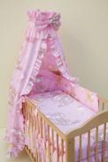 Detské obliečky do postieľky Obláčik ružová 2-dielny