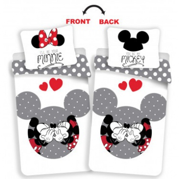 Obliečky Mickey a Minnie - love grey