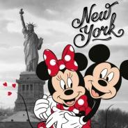 Vankúšik Mickey a Minnie v New Yorku 40x40cm