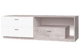 Televízny stolík Vulcano - dub / biela