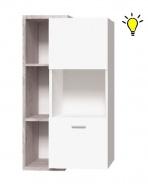 Závesná vitrína Vulcano L/P s osvetlením - dub / biela