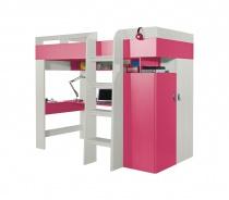 Vyvýšená posteľ s pc stolom a skriňou Adela - jaseň/ružová